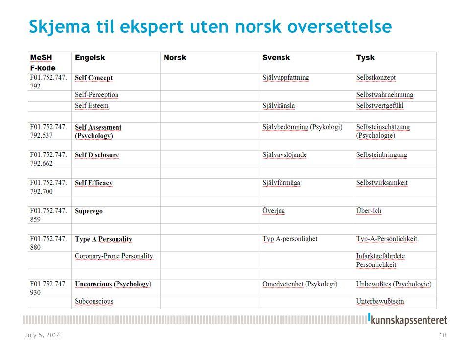July 5, 201410 Skjema til ekspert uten norsk oversettelse