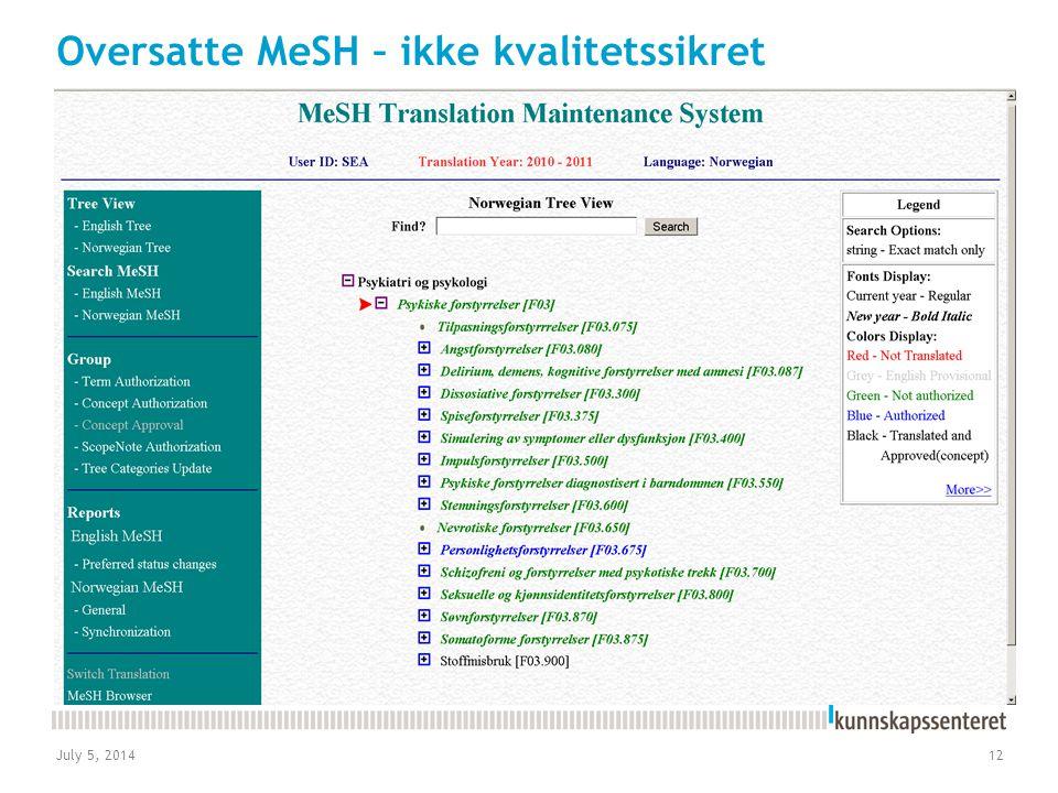 July 5, 201412 Oversatte MeSH – ikke kvalitetssikret