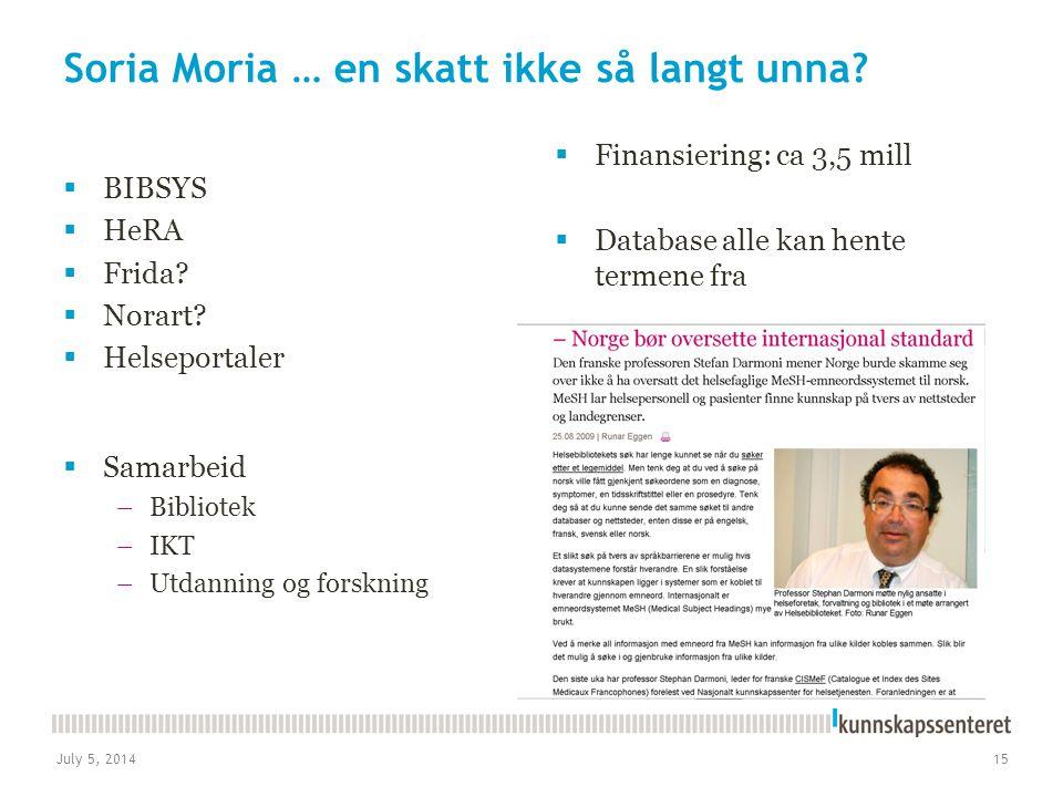 July 5, 201415 Soria Moria … en skatt ikke så langt unna?  BIBSYS  HeRA  Frida?  Norart?  Helseportaler  Finansiering: ca 3,5 mill  Database al