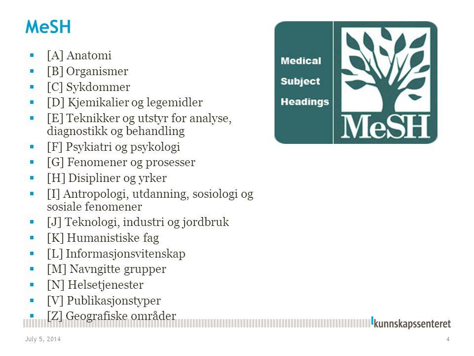 July 5, 20144 MeSH  [A] Anatomi  [B] Organismer  [C] Sykdommer  [D] Kjemikalier og legemidler  [E] Teknikker og utstyr for analyse, diagnostikk o