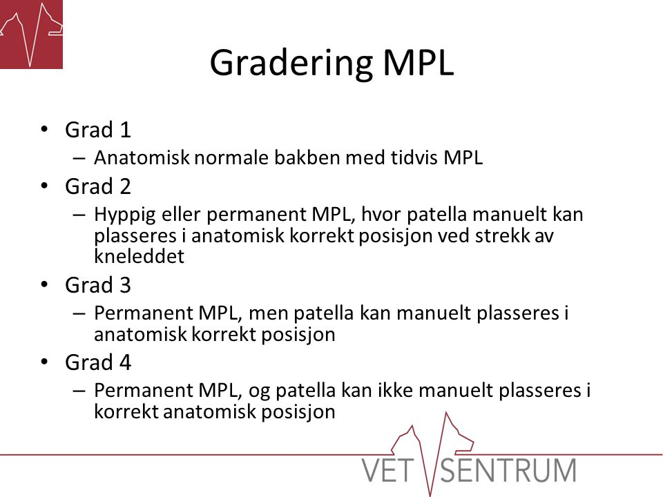 Gradering MPL • Grad 1 – Anatomisk normale bakben med tidvis MPL • Grad 2 – Hyppig eller permanent MPL, hvor patella manuelt kan plasseres i anatomisk