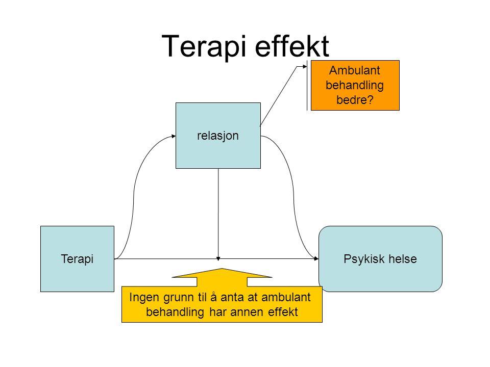 Terapi effekt Terapi relasjon Psykisk helse Ingen grunn til å anta at ambulant behandling har annen effekt Ambulant behandling bedre?