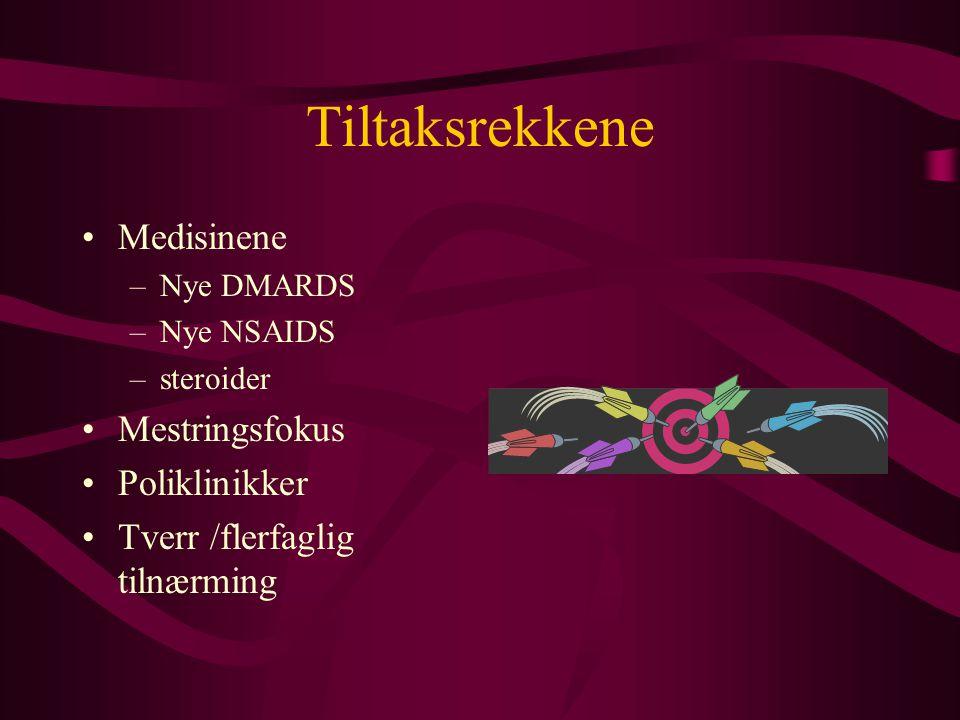 Tiltaksrekkene •Medisinene –Nye DMARDS –Nye NSAIDS –steroider •Mestringsfokus •Poliklinikker •Tverr /flerfaglig tilnærming