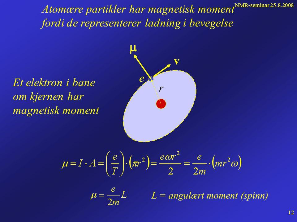 NMR-seminar 25.8.2008 11 Permanente magneter har magnetisk dipolmoment N S  A I  =IA Strømsløyfer har magnetisk dipolmoment Den fundamentale størrelsen som utnyttes i NMR er:  = det magnetiske dipolmoment