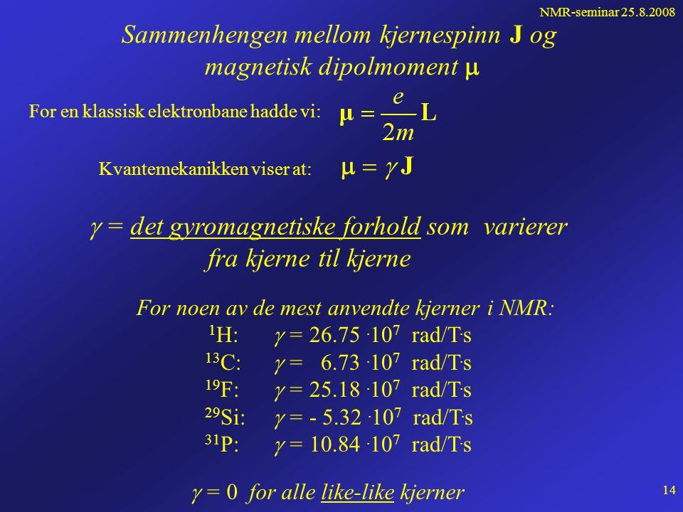 NMR-seminar 25.8.2008 13 En atomkjerne, f.eks. et proton, roterer og har derfor angulært moment (spinn) og følgelig også magnetisk dipolmoment J  Pro