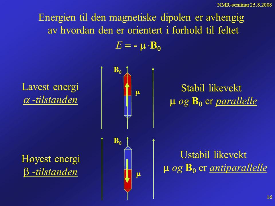 NMR-seminar 25.8.2008 15 Hva skjer når vi plasserer et magnetisk dipolmoment i et ytre statisk magnetfelt B 0 ? N S B0B0  +F -F Kraften fra det ytre