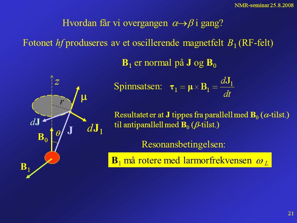 NMR-seminar 25.8.2008 20 dJ er normal på  og B 0 og |J| = konst. B0B0 J  z  r dJdJ p Farten til spissen av J: Presesjon om B 0 med larmorfrekvensen