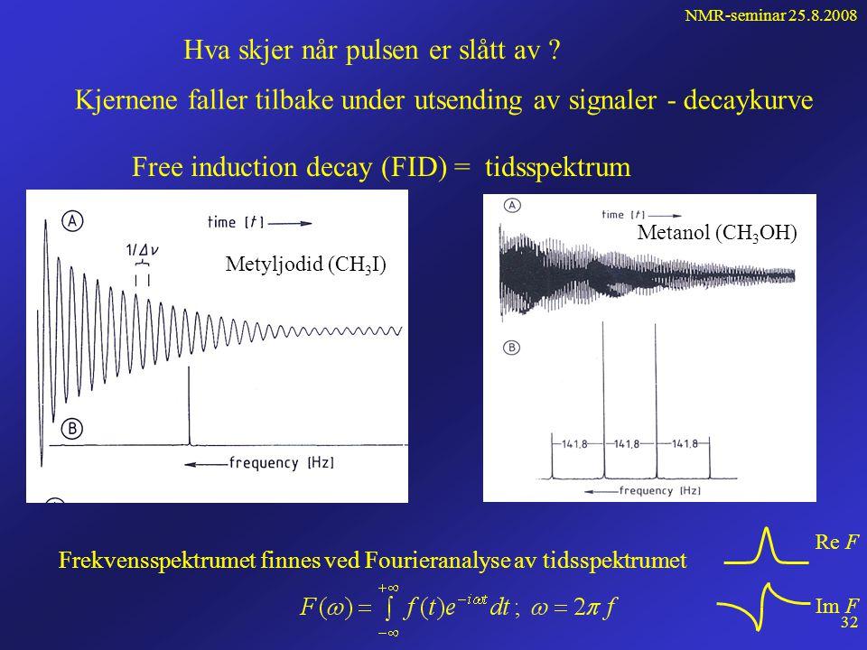 NMR-seminar 25.8.2008 31 Pulsete NMR-eksperimenter • Frekvens- eller feltsveip er langsom 100 - 500 s • Mange sveip adderes for å få godt S/N-forhold