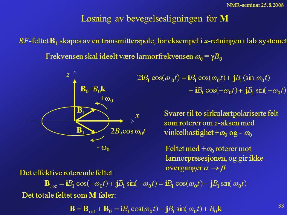 NMR-seminar 25.8.2008 32 Hva skjer når pulsen er slått av ? Kjernene faller tilbake under utsending av signaler - decaykurve Free induction decay (FID