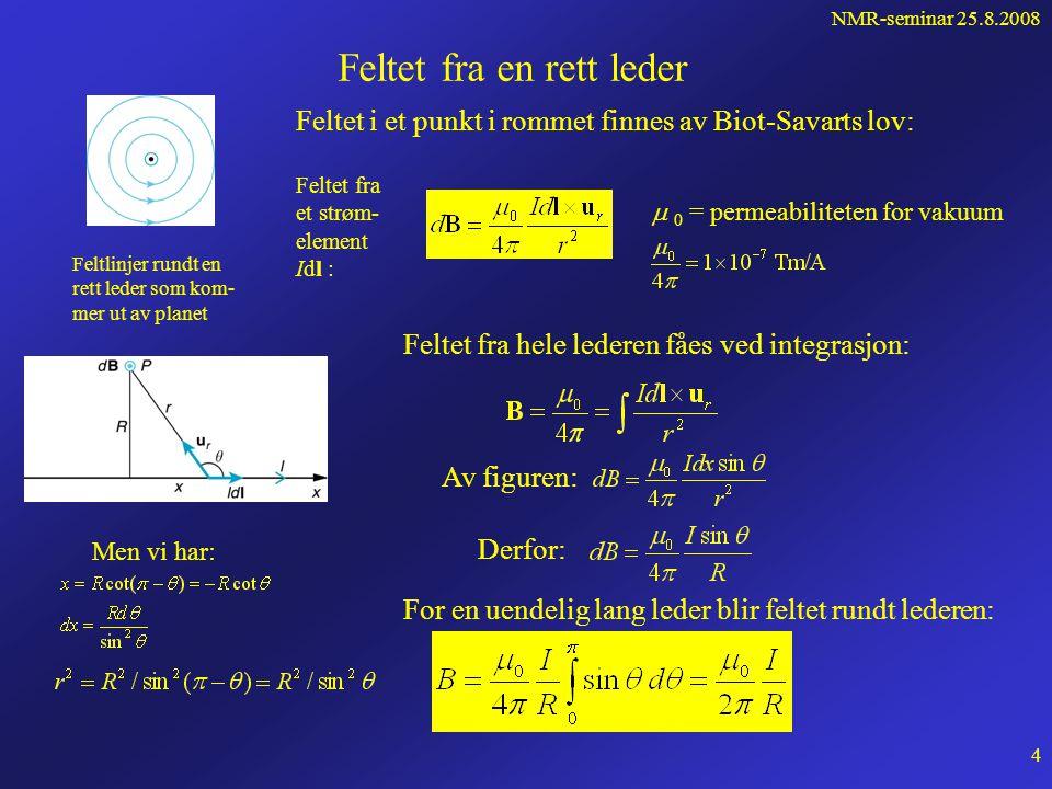 NMR-seminar 25.8.2008 3 Hva forårsaker at vi har et magnetfelt i rommet.