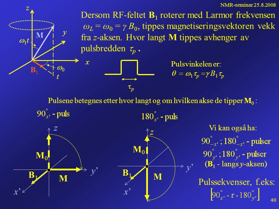 NMR-seminar 25.8.2008 39 Roterende koordinatsystem, forts... x y 1t1t z M 0t0t B1B1 Hvor langt M tippes avhenger av pulsbredden  p pp Pulsvinke