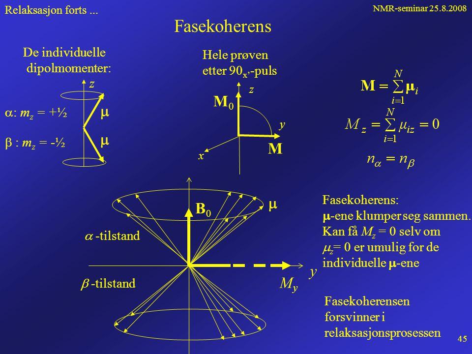 NMR-seminar 25.8.2008 44 Hvordan kan vi måle T 1 ? Inversion recovery: Relaksasjon forts...  pp FID 180 o x' 90 o x' Vi måler altså punkter på kur