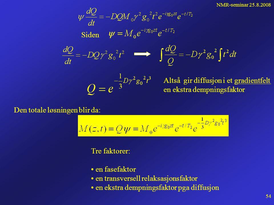 NMR-seminar 25.8.2008 53 Vi ser så på løsning av ligningen med diffusjon. Vi antar at diffusjonen gir en ekstra dempningsfaktor, slik at Der  (r,t) e