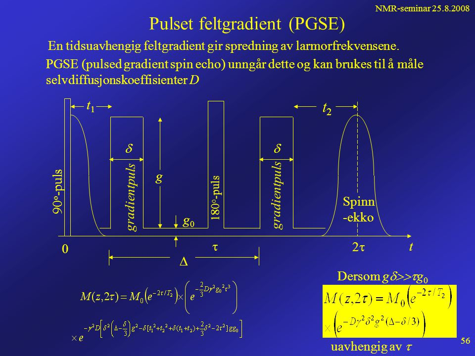 NMR-seminar 25.8.2008 55 Vi ser nå på hvordan faseskiftet i 180 y' -pulsene påvirker dette. Ved t =  skiftes fasen slik at Dette blir en ny initialve