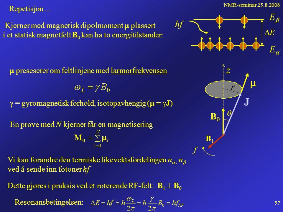 NMR-seminar 25.8.2008 56 Pulset feltgradient (PGSE) 90 o -puls 180 o -puls Spinn -ekko t g g0g0 gradientpuls t1t1 t2t2 0 22    En tidsuavhengig feltgradient gir spredning av larmorfrekvensene.
