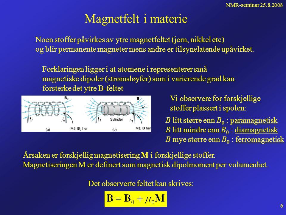 NMR-seminar 25.8.2008 5 Vi så at feltlinjene omkring en rett leder dannet konsentriske sirkler: Det er derfor opplagt at: Amperes lov sier at: I er den strømmen som omsluttes av integrasjonskurven For mange strømvindinger: Integralet av magnetfeltet B rundt en lukket kurve er lik μ 0 multiplisert med den totale strømmengjennom en vilkårlig flate som omsluttes av den lukkede kurven.