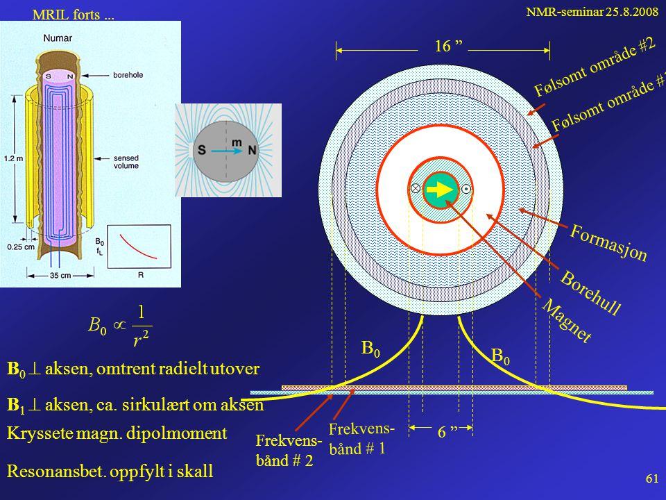 NMR-seminar 25.8.2008 60 NMR-logging Loggesonder må tåle: • høyt reservoartrykk, 1000 atm • høye reservoartemperaturer, 120 o C • store mekaniske påkjenninger • ha tidseffektiv elektronikk NUMARs MRIL-sonde (Magnetic Reonance Imaginng Log) Det permanente feltet B 0 : • ca.
