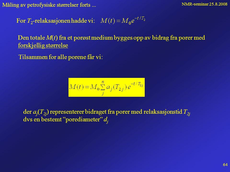 NMR-seminar 25.8.2008 63 Måling av petrofysiske størrelser forts... der T is << T ib Derfor: Innfører overflaterelaksiviteten:  =  /T is Omfattende