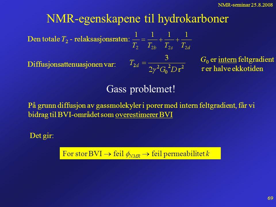 NMR-seminar 25.8.2008 68 Måling av petrofysiske størrelser forts... log T 2 a(T2)a(T2) BVM BVI T 2co T 2min For å få raske algoritmer deles logT 2 -ak