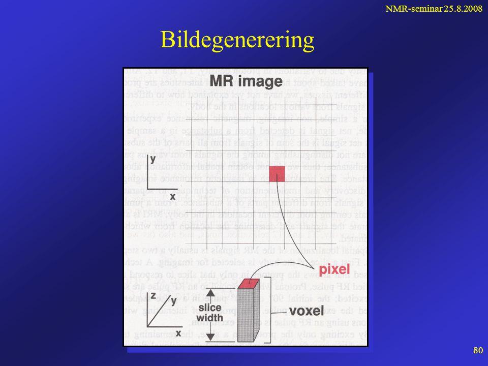 NMR-seminar 25.8.2008 79 Snitt av magnettrommelen magnetakse magnetisk isosenter (B 0 ) z B (felt) B0B0 B >B 0 B <B 0  (frekvens)  0 =  B 0    0   0  <   0 snittvalg