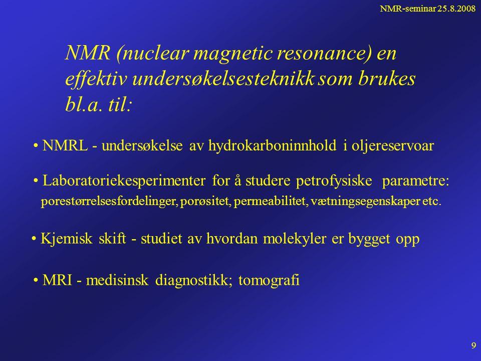 NMR-seminar 25.8.2008 8 Kraftmomentet på og energien til en magnetisk dipol  i et ytre statisk, homogent magnetfelt B 0.