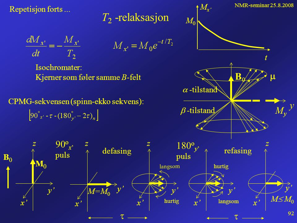 NMR-seminar 25.8.2008 91 Repetisjon • Ved å anvende et RF-puls B 1  B 0 kan likevektsfordelingen påvirkes. Overganger    oppstår, energi absorbere