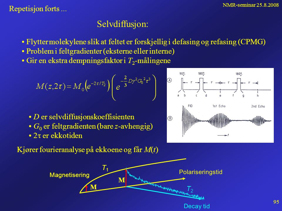 NMR-seminar 25.8.2008 94 Repetisjon forts... Vi kan manipulere M ved en firkantet tidspuls  p pp Pulsvinkelen er:    1  p  B 1  p z y'y' x'x