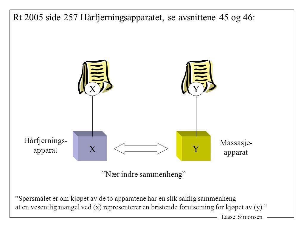"""Lasse Simonsen Rt 2005 side 257 Hårfjerningsapparatet, se avsnittene 45 og 46: XY XY Hårfjernings- apparat Massasje- apparat """"Nær indre sammenheng"""" """"S"""