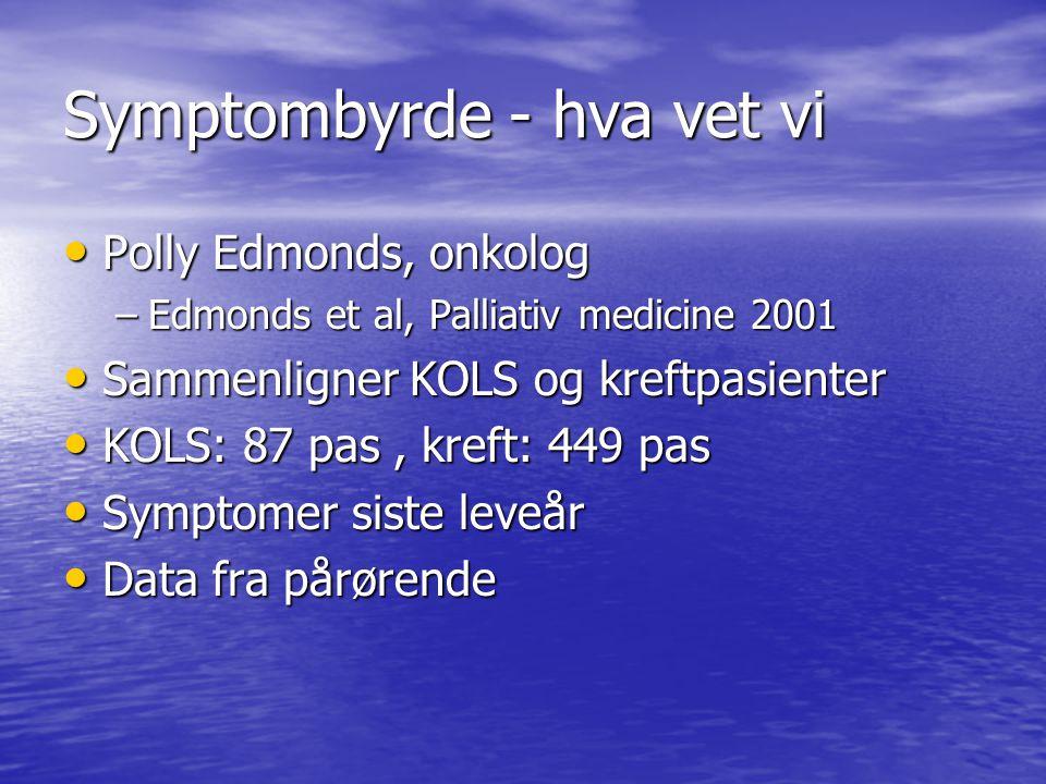 Symptombyrde - hva vet vi • Polly Edmonds, onkolog –Edmonds et al, Palliativ medicine 2001 • Sammenligner KOLS og kreftpasienter • KOLS: 87 pas, kreft: 449 pas • Symptomer siste leveår • Data fra pårørende