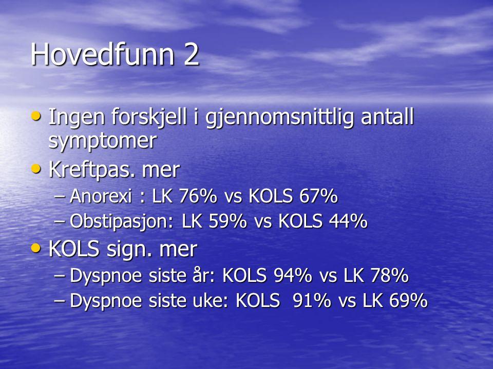Hovedfunn 3 • LK: vet i større grad at de skal dø: • LK 76% vs KOLS 62% • LK informert i større grad av lege • KOLS: finner ut på egenhånd