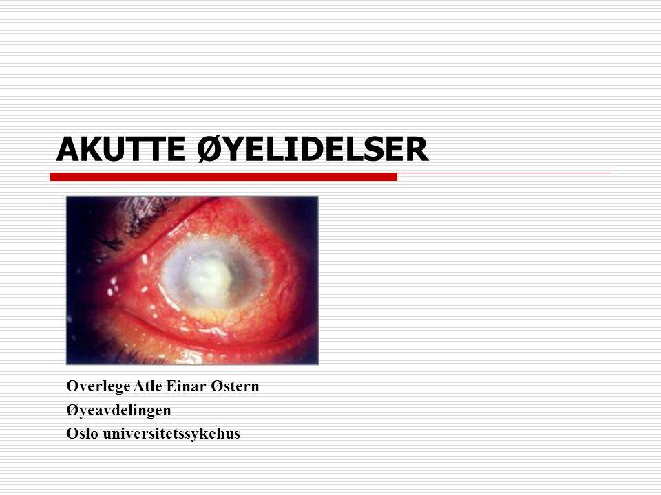 AKUTTE ØYELIDELSER Overlege Atle Einar Østern Øyeavdelingen Oslo universitetssykehus