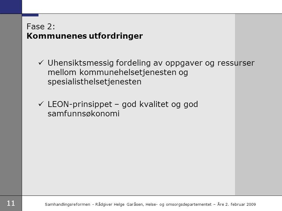 11 Samhandlingsreformen - Rådgiver Helge Garåsen, Helse- og omsorgsdepartementet – Åre 2. februar 2009 Fase 2: Kommunenes utfordringer  Uhensiktsmess