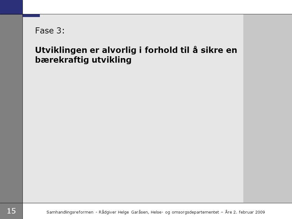 15 Samhandlingsreformen - Rådgiver Helge Garåsen, Helse- og omsorgsdepartementet – Åre 2. februar 2009 Fase 3: Utviklingen er alvorlig i forhold til å