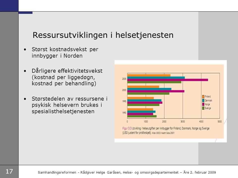 17 Samhandlingsreformen - Rådgiver Helge Garåsen, Helse- og omsorgsdepartementet – Åre 2. februar 2009 Ressursutviklingen i helsetjenesten •Størst kos