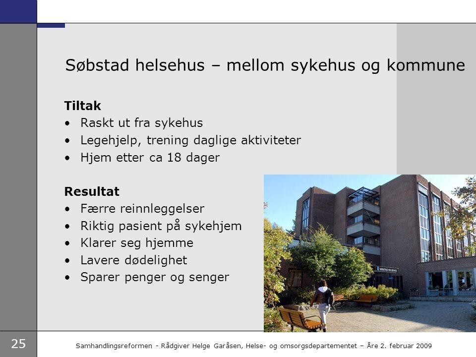 25 Samhandlingsreformen - Rådgiver Helge Garåsen, Helse- og omsorgsdepartementet – Åre 2. februar 2009 Søbstad helsehus – mellom sykehus og kommune Ti