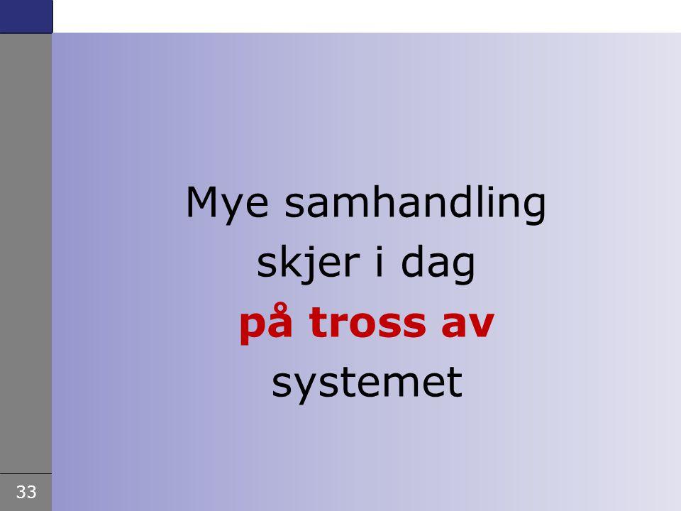 33 Samhandlingsreformen - Rådgiver Helge Garåsen, Helse- og omsorgsdepartementet – Åre 2. februar 2009 Mye samhandling skjer i dag på tross av systeme