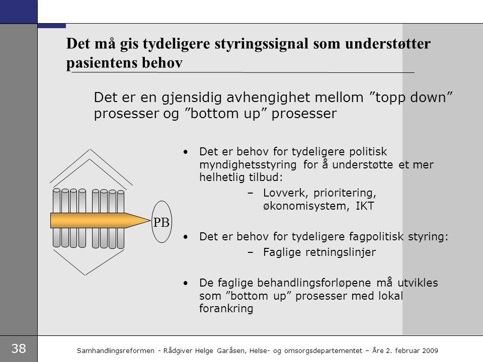 38 Samhandlingsreformen - Rådgiver Helge Garåsen, Helse- og omsorgsdepartementet – Åre 2. februar 2009 Det må gis tydeligere styringssignal som unders