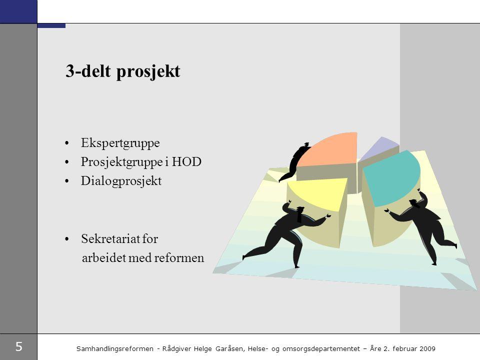 5 Samhandlingsreformen - Rådgiver Helge Garåsen, Helse- og omsorgsdepartementet – Åre 2. februar 2009 3-delt prosjekt •Ekspertgruppe •Prosjektgruppe i
