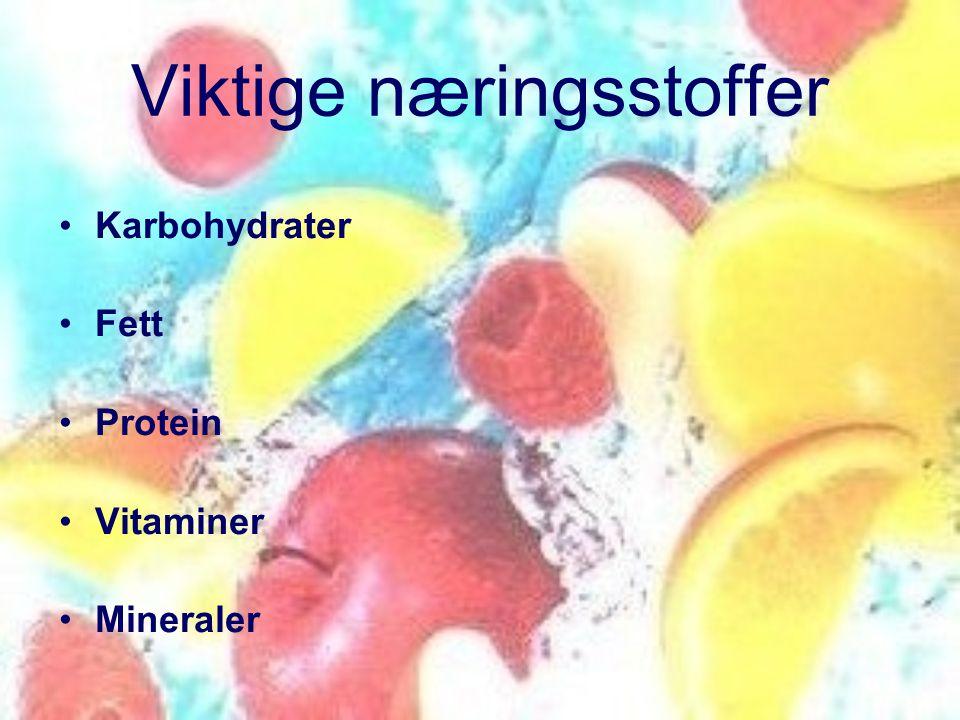 Viktige næringsstoffer •Karbohydrater •Fett •Protein •Vitaminer •Mineraler