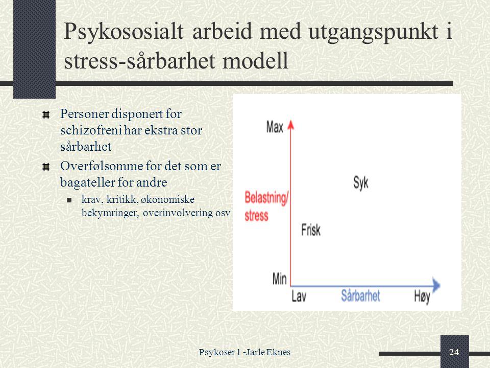 Psykoser 1 -Jarle Eknes24 Psykososialt arbeid med utgangspunkt i stress-sårbarhet modell Personer disponert for schizofreni har ekstra stor sårbarhet Overfølsomme for det som er bagateller for andre  krav, kritikk, økonomiske bekymringer, overinvolvering osv