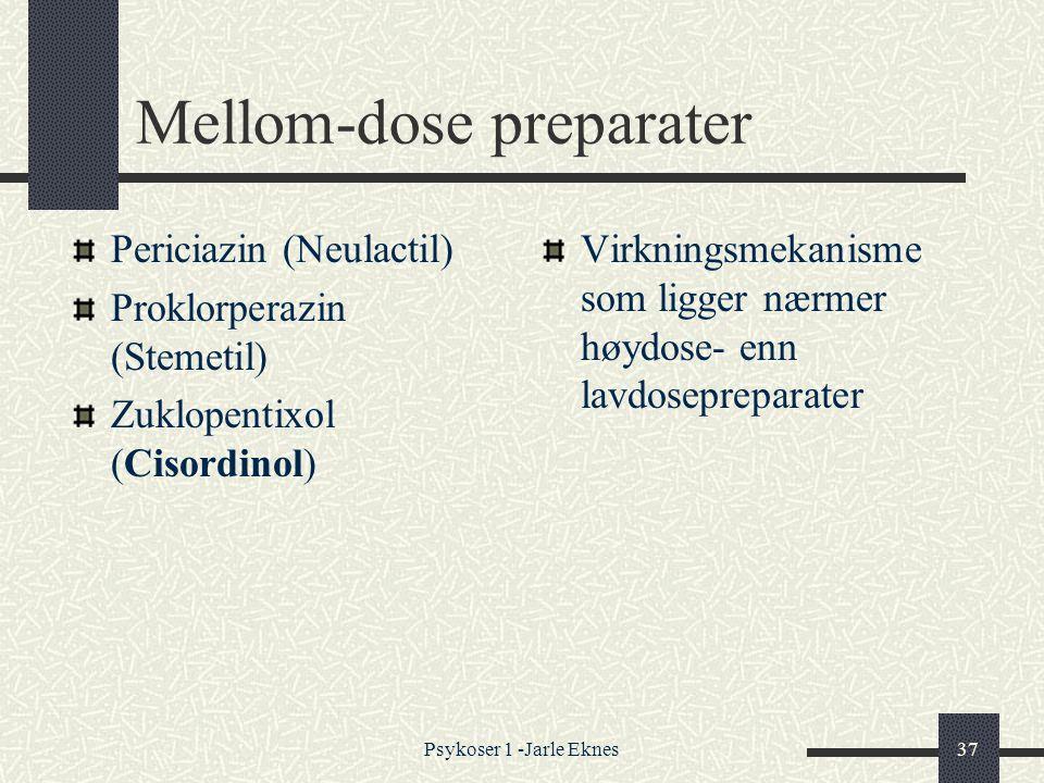 Psykoser 1 -Jarle Eknes37 Mellom-dose preparater Periciazin (Neulactil) Proklorperazin (Stemetil) Zuklopentixol (Cisordinol) Virkningsmekanisme som ligger nærmer høydose- enn lavdosepreparater