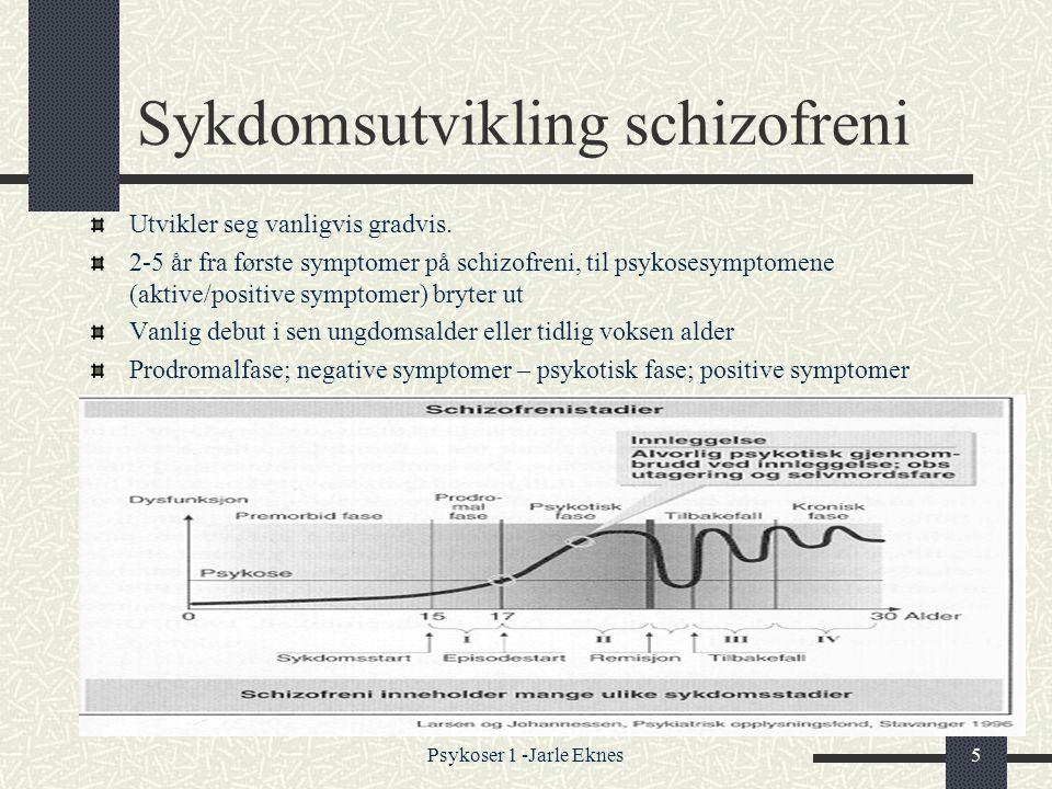 Psykoser 1 -Jarle Eknes5 Sykdomsutvikling schizofreni Utvikler seg vanligvis gradvis.
