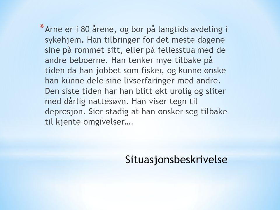 * Arne er i 80 årene, og bor på langtids avdeling i sykehjem. Han tilbringer for det meste dagene sine på rommet sitt, eller på fellesstua med de andr
