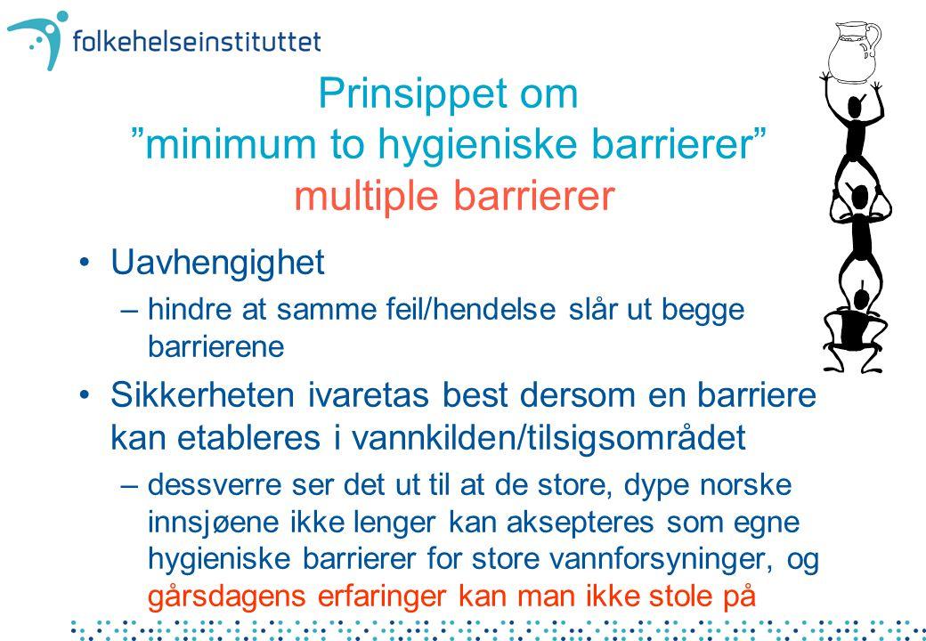 """Prinsippet om """"minimum to hygieniske barrierer"""" multiple barrierer •Uavhengighet –hindre at samme feil/hendelse slår ut begge barrierene •Sikkerheten"""