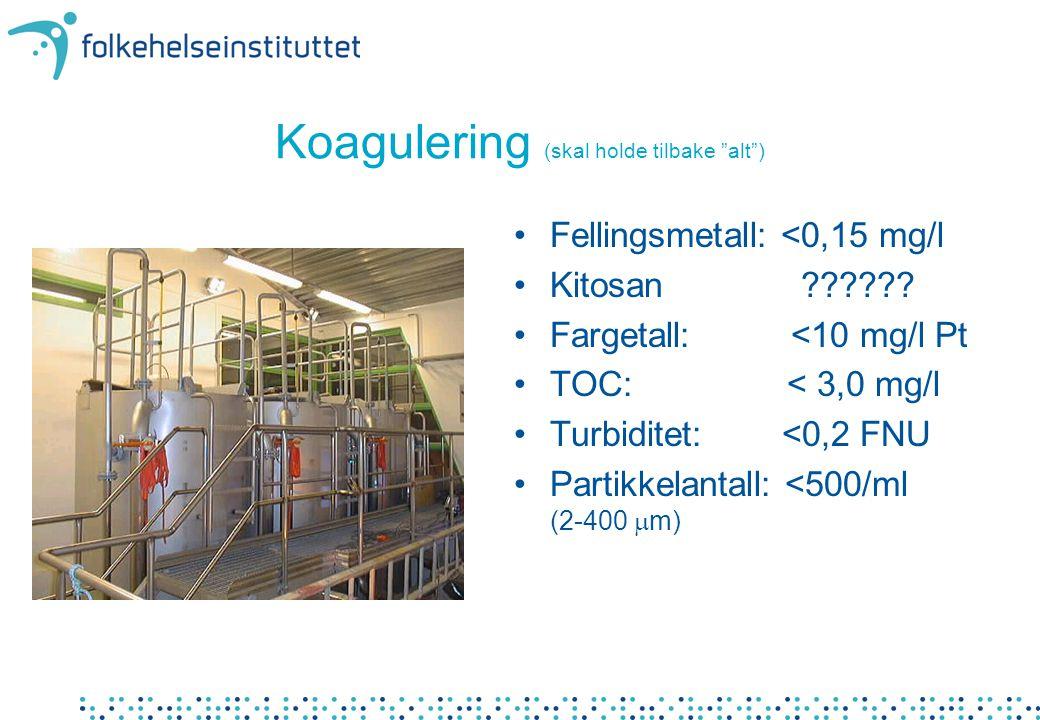 "Koagulering (skal holde tilbake ""alt"") •Fellingsmetall: <0,15 mg/l •Kitosan ?????? •Fargetall: <10 mg/l Pt •TOC: < 3,0 mg/l •Turbiditet: <0,2 FNU •Par"