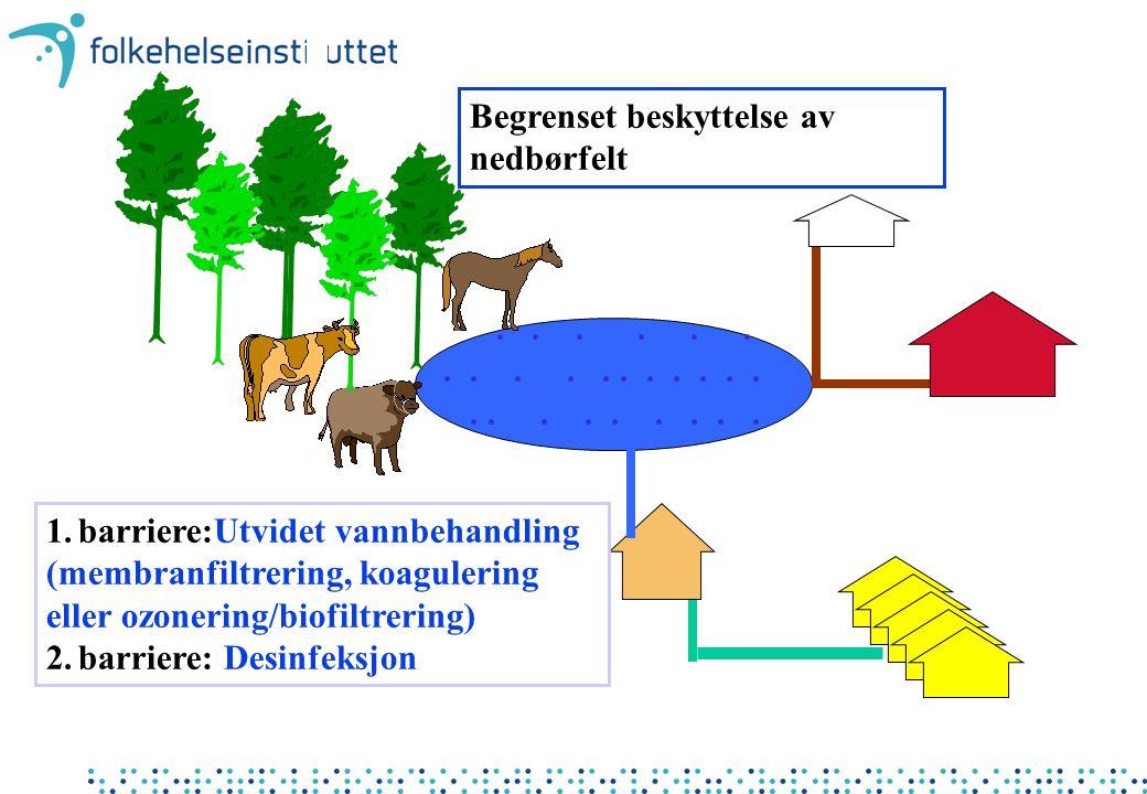 Begrenset beskyttelse av nedbørfelt 1. barriere:Utvidet vannbehandling (membranfiltrering, koagulering eller ozonering/biofiltrering) 2. barriere: Des