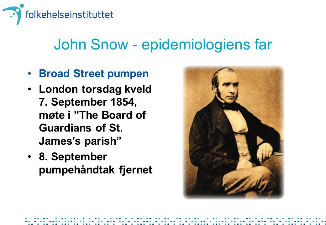 John Snow - epidemiologiens far •Broad Street pumpen •London torsdag kveld 7. September 1854, møte i