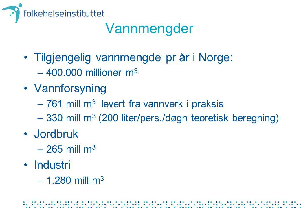 Vannmengder •Tilgjengelig vannmengde pr år i Norge: –400.000 millioner m 3 •Vannforsyning –761 mill m 3 levert fra vannverk i praksis –330 mill m 3 (2
