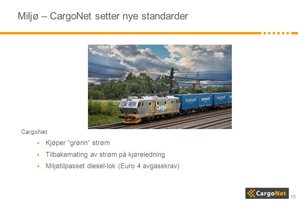 """15 Miljø – CargoNet setter nye standarder CargoNet  Kjøper """"grønn"""" strøm  Tilbakemating av strøm på kjøreledning  Miljøtilpasset diesel-lok (Euro 4"""