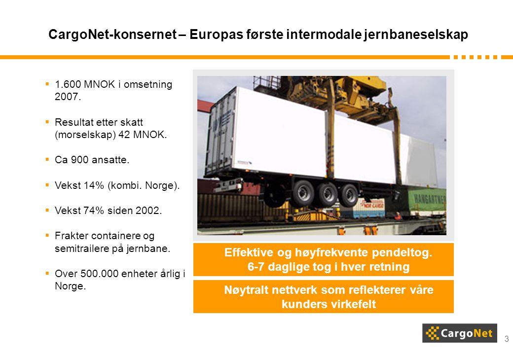 3 CargoNet-konsernet – Europas første intermodale jernbaneselskap Effektive og høyfrekvente pendeltog. 6-7 daglige tog i hver retning Nøytralt nettver
